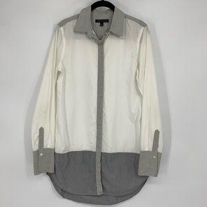 Banana Republic Button Down Tunic Top Gray White
